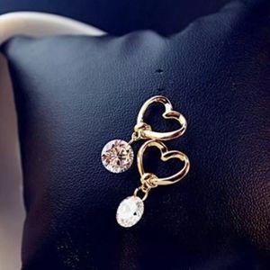 Boutique 9 Jewelry - Open Heart Drop Single Round Diamond Gold Earrings